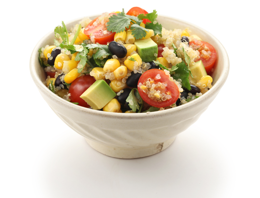 salad high protein lunches, black bean and quinoa