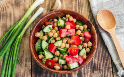 Chickpea Salad with Crumbed Feta